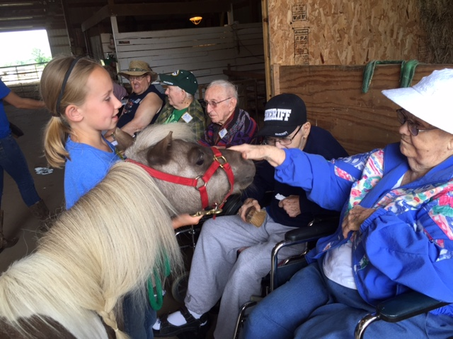 Photo of senior citizens petting a pony in the barn at Nature's Edge